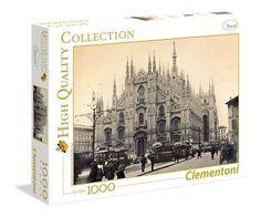 Chulísimo puzzle en blanco y negro de la plaza del Duomo de milán en 1910 ¡ Parece que no ha cambiado nada! Milán en blanco y negro - Puzzle de Clementoni