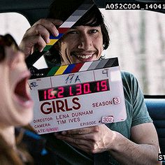 """driverdaily: """"Adam having fun with the clapperboard behind the scenes of Girls (Season """" He Makes Me Happy, Make Me Happy, I Love Him, My Love, Love Of My Life, Girls Season 3, Girls Hbo, Kylo Rey, Kylo Ren Adam Driver"""