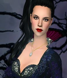 """Sim-request for anon who asked for Evil Queen from""""Once upon a time"""" tv show. So here she is, in cartoonish style as usual as I'm bad at creating from real people :D She's packaged without her accessories. She is using 3D lashes! Grab them here. Her necklace and dress here and here.DOWNLOAD (mediafire)DOWNLOAD (onedrive)Have fun!"""