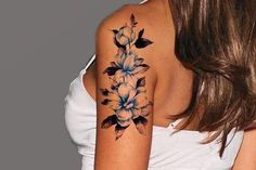 Floral Temporary Tattoo, Flower Tattoos, Tattoo Sleeves, Fake Tattoos, Watercolor Flower Tattoo, Vintage Temporary Tattoos, Blue Flower