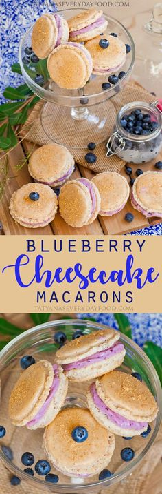 Blueberry Cheesecake Macarons (video) The macarons wafers are dusted with graham cracker crumbs and the blueberry cream cheese filling is irresistible! Brownie Desserts, Mini Desserts, Oreo Dessert, Coconut Dessert, Plated Desserts, Pavlova, Tatyana's Everyday Food, Cookie Recipes, Dessert Recipes