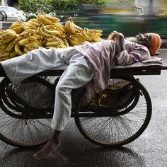 Un venditore ambulante di banane riposa sul suo carretto lungo una strada di Nuova Delhi, #India