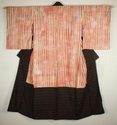 Antique shibori and kasuri kimono.
