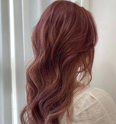 Brown Hair Korean, Korean Hair Color, Red Brown Hair, Asian Hair Perm, Asian Red Hair, Permed Hairstyles, Pretty Hairstyles, Dyed Red Hair, Aesthetic Hair