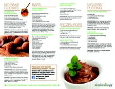 Healthy superfood packed Shakeology pudding, cake balls and more! ALL packed with 70+ superfoods! Print it for your fridge.