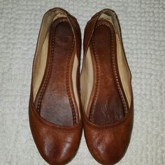 Brown Frye Carson ballet flats Brown Frye Carson ballet flats...these shoes are worn and show signs of wear...super comfy and have tons of life left in them Frye  Shoes Flats & Loafers