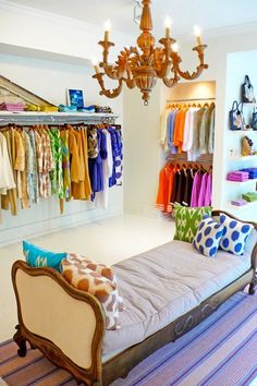 A closet filled with color.
