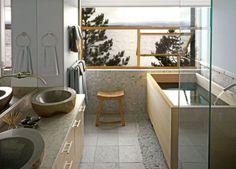 Wood Bath Tubs : Ofuro Soaking Tubs & Hinoki Soaking Tubs at RHTubs Modern Bathroom Lighting, Contemporary Bathrooms, Bathroom Styling, Asian Bathroom, Bathroom Small, Boho Bathroom, Japanese Style Bathroom, Wooden Bathtub, Wood Bath
