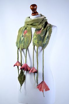 Felt Scarves – Green light spring felt scarf with flowers, felted – a unique product by BlanCraft on DaWanda