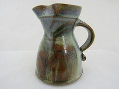 Studio pottery jug Blue and brown jug by Neville Wilson of Maldon Pottery Victoria Australia Australian studio pottery