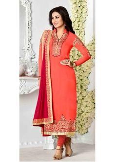 Party Wear Orange & Pink Salwar Suit - Zaaina1136