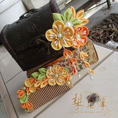 Japanese style cloth flower hairpin