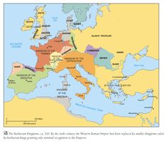 Map showing the various barbarian kingdoms established after the collapse of the Western Roman Empire.