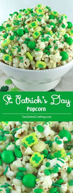 Patrick's Day Popcorn is a yummy sweet and salty popcorn treat that is so easy to make. Surprise your family with this fun St. Patrick's Day dessert. Mini Desserts, Green Desserts, Party Desserts, St Patrick Day Snacks, St Patricks Day Food, St Patricks Day Snacks For School, St Patricks Day Deserts, Easy Party Food, Party Snacks