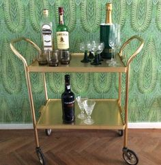 Bar cart rolling drinks trolley mid century by TheLittleIrishShop Mid Century, Vintage House, Bar Cart, Modern Tea Trolley, Home, Rolling Bar Cart, Home Bar Table, Mid Century House, Home Decor
