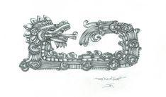 Aztec Feather Serpent by JaydanEden on DeviantArt God Tattoos, Body Art Tattoos, Aztec Symbols, Feathered Serpent, Aztec Art, Stamp Printing, Mesoamerican, Chest Piece, Symbolic Tattoos