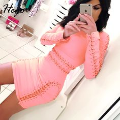 Aliexpress.com : Buy HEGO 2016 New Fashion Style  Pink Long Sleeve Hollow Out With Chain Sexy Dress BJ01002 from Reliable dress id suppliers on Guang Zhou TianYi Trade Co.,Ltd.  | Alibaba Group