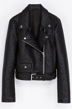 Lapel PU Leather Zipper Jacket