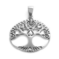 925 Sterling Silver Charming Tree of Life with Hearts Pendant