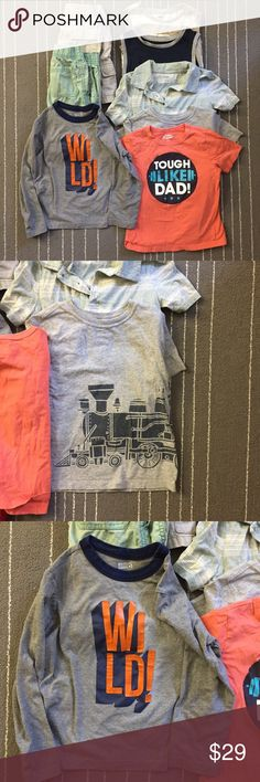 Little boys 8 pieces bundle 5T-5A Shirts shorts Gently worn and loved. There are 8 pieces. 2 shorted and others are shirts. Gently worn. I may add more to these as I find them. Brands are Oshkosh old navy, children place and others. Shirts & Tops
