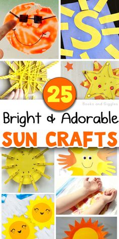 25 sun crafts for kids - use as a summer craft or with a space or moon and sun unit. Includes choices for toddlers, preschoolers, and elementary aged children. There are paper plate sun crafts, interactive crafts, and more. Creative Activities For Kids, Creative Arts And Crafts, Summer Activities For Kids, Easy Diy Crafts, Summer Crafts For Kids, Gifts For Kids, Summer Ideas, Toddler Crafts, Preschool Activities