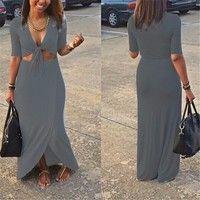 Wish    New Arrival Sexy Deep V Neck Short Sleeve Dew Navel Attire Long Party Dress