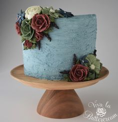 """""""Roses at Midnight"""" - textured Buttercream, and hand piped Buttercream Flowers by Kerrie Wyer   www.vivalabuttercream.com"""