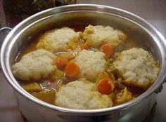 This is the only way I knew to make dumplings before I came to the south. I still use this recipe and it goes great if your doing a big pot of soup or stew. Fluffy Dumpling Recipe, Homemade Dumplings, Chicken And Dumplings, Beef Stew With Dumplings, Dumplings Recipe Easy, Drop Dumplings, Homemade Biscuits, Homemade Pasta, Bread Dumplings Recipes