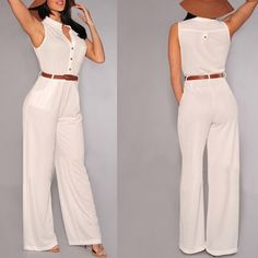 Stylish V-Neck Sleeveless Button Design Wide Leg Women's Jumpsuit