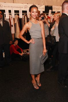 Zoe Saldana is perfection! LOVE her sophisticated yet trending style in grey shades.