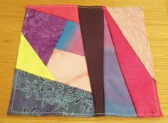 Crazy patchwork square - pinks