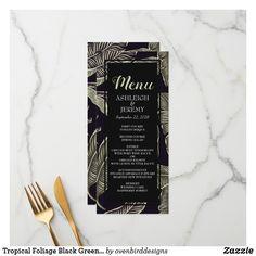 Shop Tropical Foliage Black Green Wedding Menu created by ovenbirddesigns. Wedding Desserts, Wedding Cakes, Green Wedding, Wedding Colors, Black Rectangle, Wedding Menu Cards, Spring Salad, Tropical Design, Cards