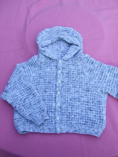 Hand knitted boys hooded cardigan or jacket to by Knittingtopia