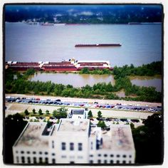 View of the Mississippi River flood from the Louisiana State Capitol lookout, May 2011 / photo credit: Amber King