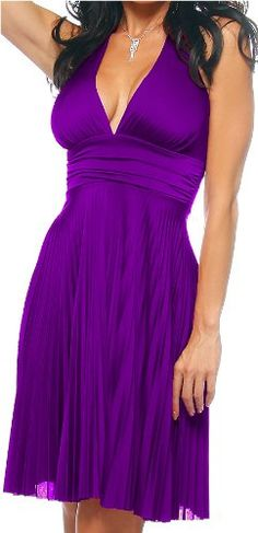 Purple Marilyn Pleated Summer Hot Halter Party « Dress Adds Everyday