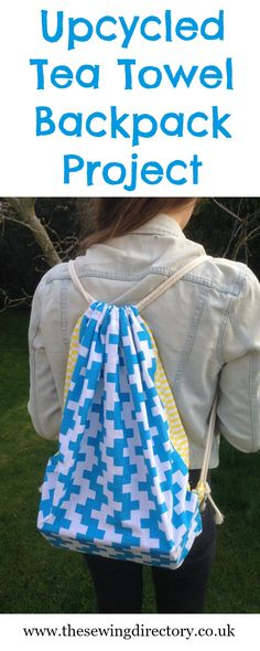 Make a reversible drawstring backpack from two tea towels!