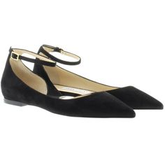 Jimmy Choo Lucy Flat Pointed Ballerina Black in black, Ballerinas (6.906.050 IDR) ❤ liked on Polyvore featuring shoes, flats, black, ankle strap flats, ankle wrap ballet flats, ballet flats, suede ballet flats and pointed-toe flats