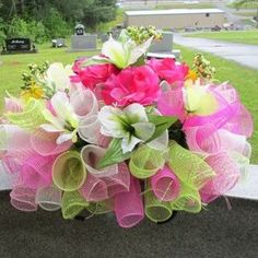 Headstone Saddles #flowers #wreaths #headstone #funeral #sympathy #cemetery #mesh #floral #memorial #decoration