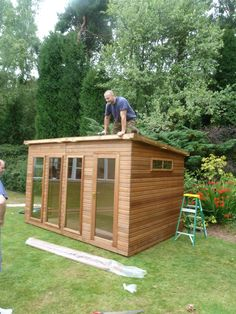Shed for children's art and craft equipment and to play in Boys Playhouse, Crafts For Kids, Arts And Crafts, Wendy House, Garden Buildings, Play Houses, Eco Friendly, Shed, Outdoor Structures