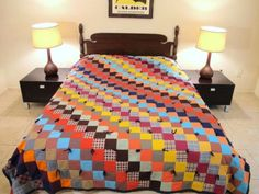 Colorful-QUEEN-SIZE-Polyester-QUILT-Bedspread-In-Very-Good-Condition-91-x-76