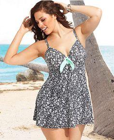 Fit 4 U Plus Size Swimsuit, Spaghetti-Strap Printed Swimdress - Plus Size Swimwear - Plus Sizes - Macy's