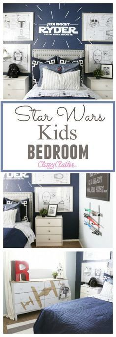 Star Wars Kids Bedroom Classy Clutter - Star Wars Men - Ideas of Star Wars Men - Star Wars Kids Bedroom. My little boy is OBSESSED with his room! That is all he talked about for days when it was all finished! This Star Wars room is so fun Classy Clutter Baby Boy Themes, Baby Boy Rooms, Baby Room, Kids Rooms, Kids Bedroom Furniture, Bedroom Decor, Bedroom Boys, Bedroom Ideas, Bedroom Lighting
