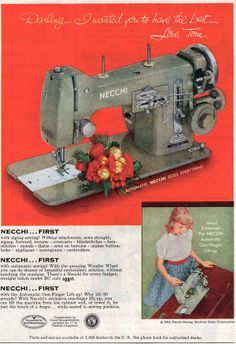 1954 Vintage Ad Necchi Sewing Machine // Old Sewing Ads // Christmas advertisement // Sewing Room Wall Art // Sewing Room Decor // Retro Sew 1954 Vintage Ad Necchi Sewing Machine // Old Sewing Ads // Christmas advertisement Vintage Advertising Posters, Vintage Advertisements, Vintage Ads, Sewing Room Decor, Sewing Rooms, Applique Monogram, Vintage Sewing Machines, How To Make Buttons, Sewing Studio
