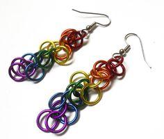 Rainbow Chainmaille Earrings