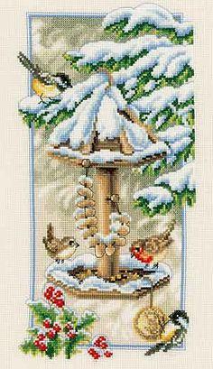 beautiful cross stitch | Winter Birds Feeding is a beautiful cross stitch design from Vervaco