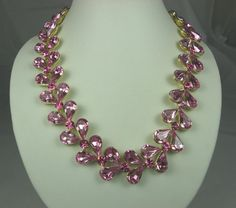 Vintage Pink Crystal Rhinestone Necklace Gold by TheFashionDen, $65.00