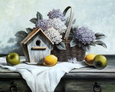 Birdhouse, Hydrangea, Apple Art Print by T. C. Chiu
