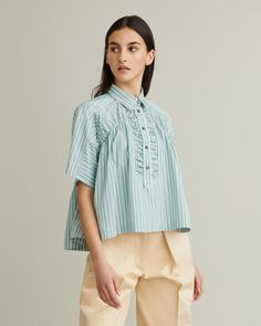 Short sleeve blouse with raglan sleeves, A-line silhouette and ruching details at front. Short Sleeve Blouse, Short Sleeves, Retail Concepts, Cool Suits, Designing Women, Bell Sleeve Top, Apothecary, My Style