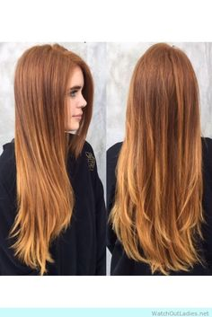 brown copper balayage ends with a light base! Perfect fall hair color, check now ladies! <3