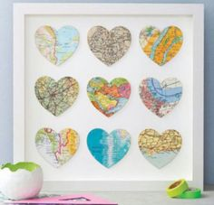 Customized Map Hearts